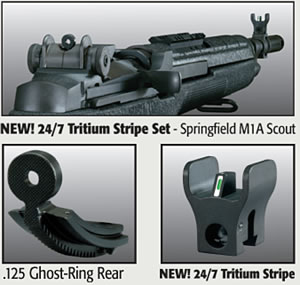 M14 SIGHT SET TRITIUM STRIPE FRONT WITH  125 GHOST RING REAR