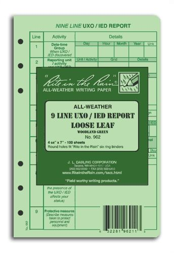 9 LINE UXO/IED Report Loose Leaf 962